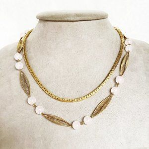 Jewelry - double chain necklace with pink beads accents gold